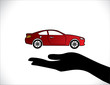 Car Insurance Car Protection Hand Silhouettes beautiful Concept
