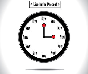 Present Moment concept using round wall clock  with word Now