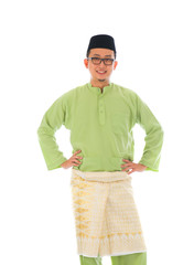 indonesian male during ramadan festival with isolated white back