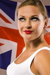 young woman on the background with british national flag