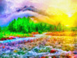 Leinwanddruck Bild - River in woods