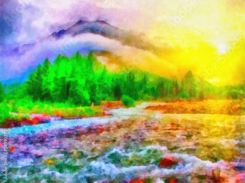 Leinwanddruck Bild River in woods