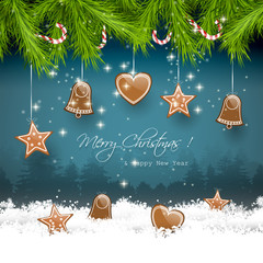 Christmas greeting card with gingerbreads