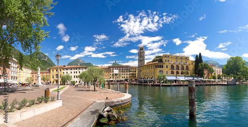 canvas print picture Riva del Garda, Promenade, Gardasee, Glockenturm, Hafen, Italien
