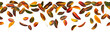 Seamless autumn leaves falling, white background.