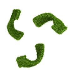 Inverted recycle symbol from grass. isolated on white