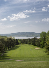 Downhill hole with a beautiful view above the golf course