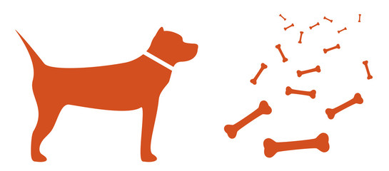 isolated dog and food for pet - many bone silhouette
