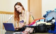 Girl reserving hotel online
