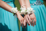 Fototapety Bridesmaids with wedding flowers