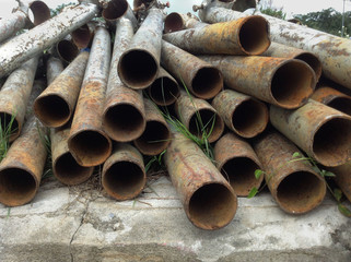 iron pipes stacked