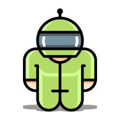 Cyborg robot toy. vector icons