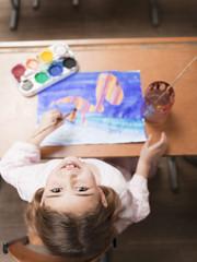 Mädchen, Malerei mit Aquarellfarben