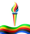 Olympic torch symbol with flag