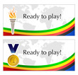 Olympic text frame with torch and medal