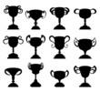 Trophy cup symbol silhouette set