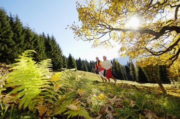 älteres Paar, Senioren Nordic Walking im Freien, Seitenansicht