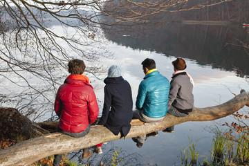 Deutschland, Berlin, Wandlitz, Männer und Frauen sitzen auf Ast