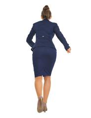 Full length portrait of business woman running straight
