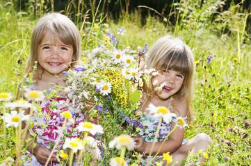 Österreich, Salzburger Land, Mädchen pflücken Blumen im Sommerwiese
