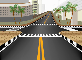 City street in downtown vector background