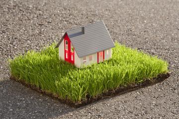 Modell eines Hauses auf Gras