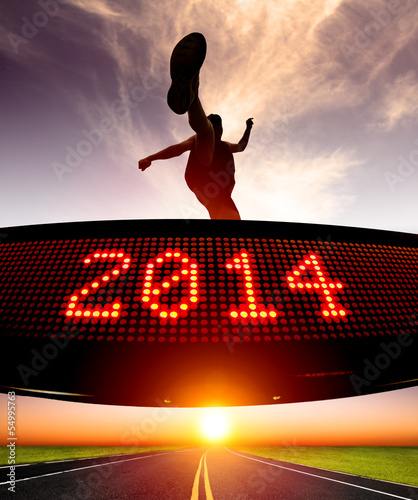 happy new year 2014.runner jumping and crossing over matrix disp