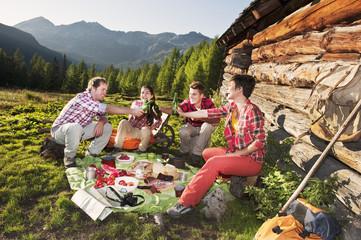 Österreich, Salzburger Land, Männer und Frauen, Picknick in der Nähe von Hütte bei Sonnenuntergang