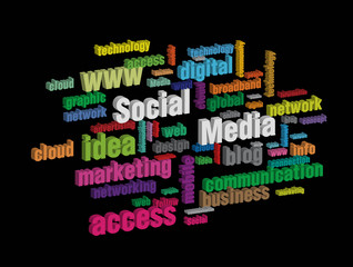 colorful social media wordcloud on dark background