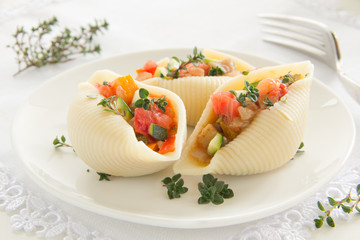 Vegetable ratatouille in pasta shells.