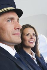 Deutschland, Bayern, München, Flugpersonal in der Business Class Flugzeugkabine