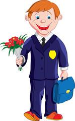 Школьник с букетом цветов и портфелем идет в школу