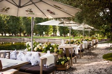 Summer restaurant terrace