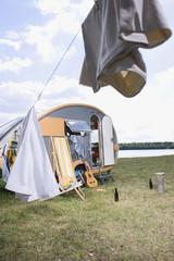 Deutschland, Leipzig, Ammelshainer See, Camping Trailer
