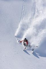 Österreich, Tirol, Zillertal, Gerlos, Freeride, Ski-Abfahrt Mann