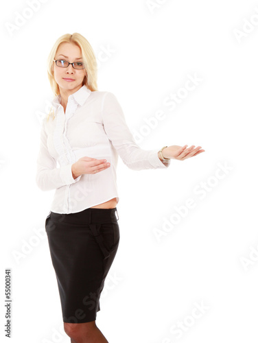 A  portrait business woman shows something