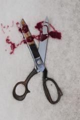 Blutverschmierte Schere im Schnee