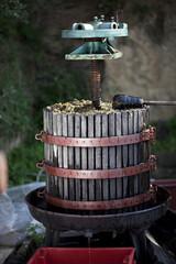 Kroatien, Baranja, Weinpresse im Weinberg