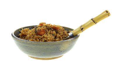 Vegetable Pilaf In Bowl Side With Fork