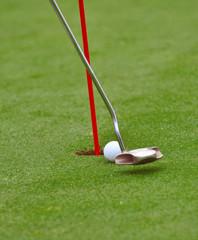 detail of a golf putt
