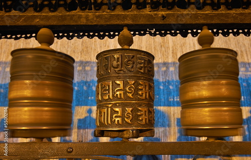 Buddhist prayer wheels in Swayambhunath