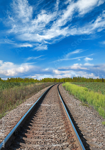 Railway perspective with green grass on sides