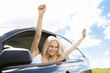 Woman Raising Hand Out Of Car Window