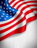 Fototapety American flag on grey wood background
