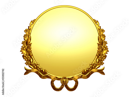 round and golden ornamental frame