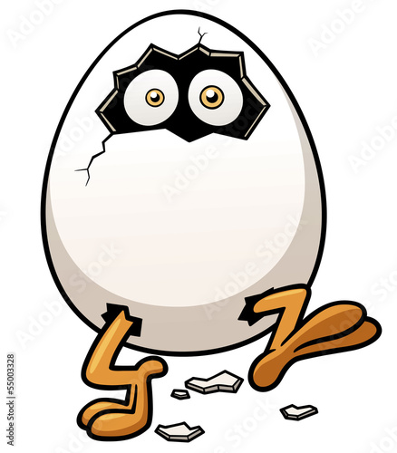 Vector illustration of Little chicken in egg