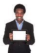 Happy Business Man Holding Digital Tablet