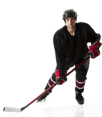 Ice hockey player skating