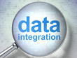 Data concept: Data Integration with optical glass