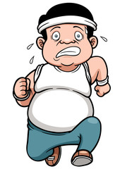 Vector illustration of fat man Jogging
